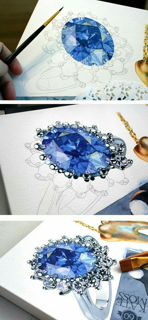 illustration & watercolor painting of a ring with a giant blue sapphire