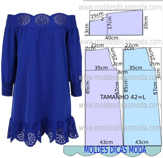 Molde de vestido fácil de fazer com medidas. Passo a passo corte e costura de vestido.