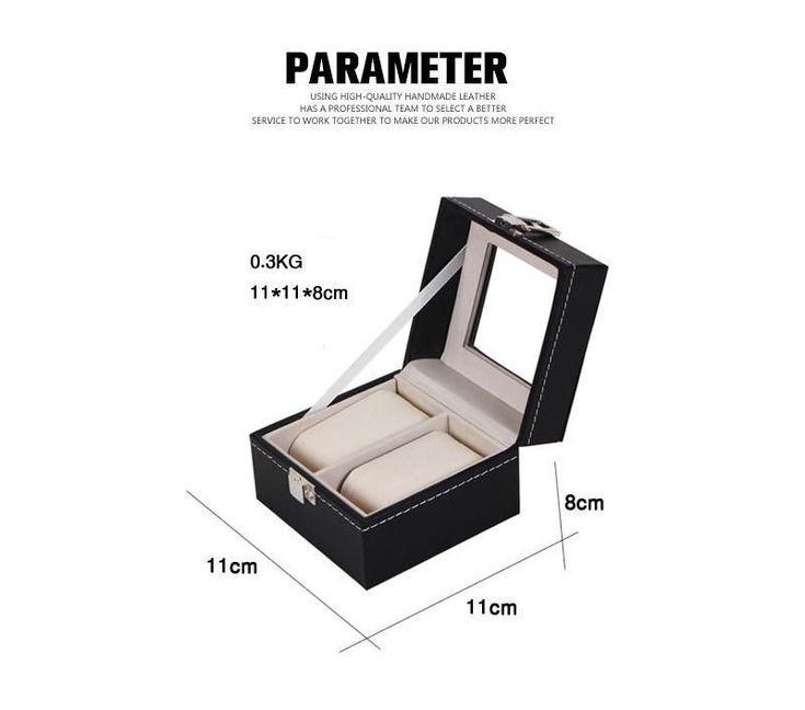 ot03 New Luxury 2  Grid Leather Watch Box Jewelry Display Collection Storage Case Watch Organizer Box Holder #luxuryjewelrydisplay