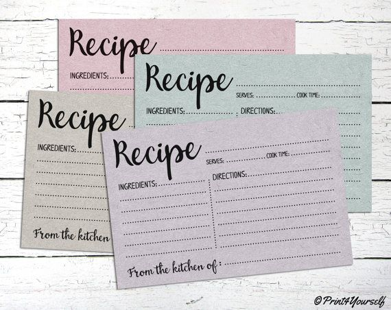 Recipe Cards // Instant Download Printable by Print4Yourself