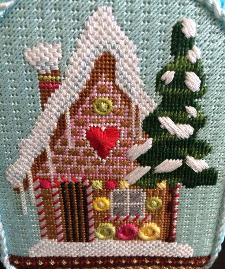 Kirk & Bradley needlepoint gingerbread house snowglobe