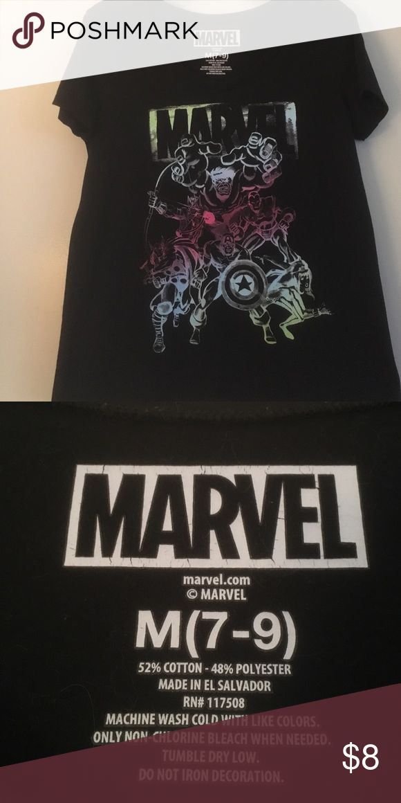 Marvel Avengers T-shirt Previously worn black ladies T-shirt featuring the comic book Marvel Avengers team print on front. Good condition. No stains, holes or tears. Marvel Tops Tees - Short Sleeve