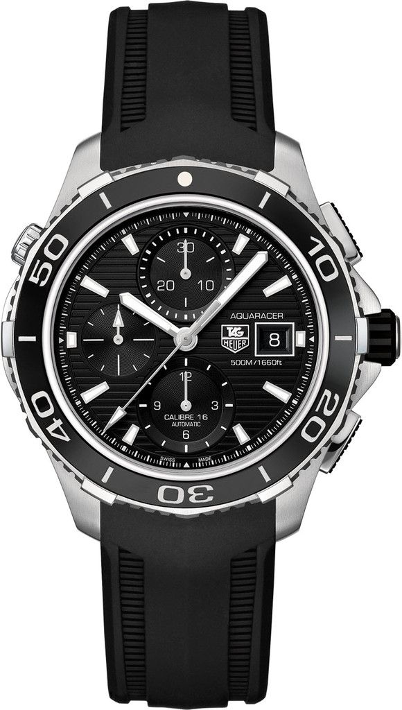 TAG Heuer Watch Aquaracer Automatic Chronograph #bezel-unidirectional #bracelet-strap-rubber #water-resistant-500m