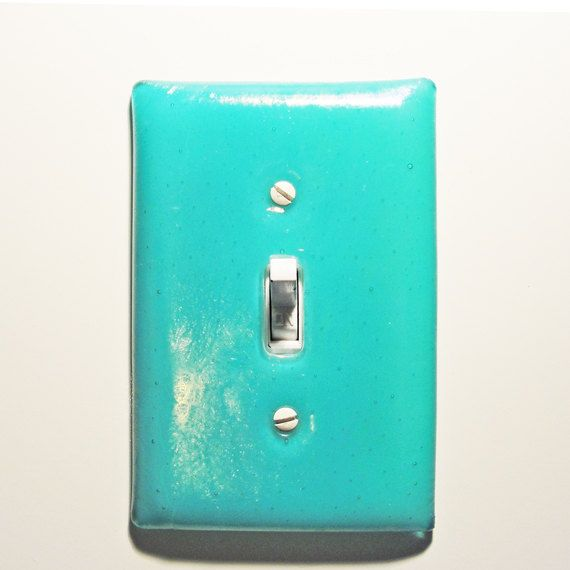 Fused Glass Light Switch Plate Iridescent Light Turquoise