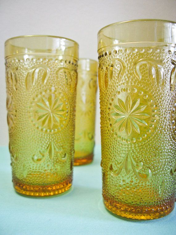 Vintage 1960s Juice Glasses Amber Cut Glass Small Yet