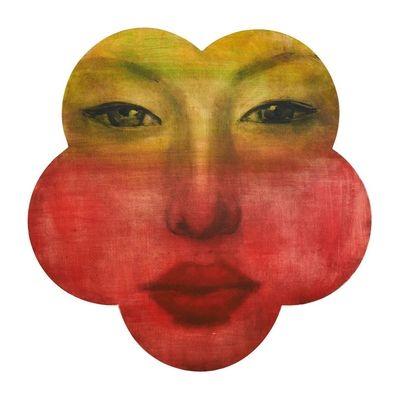 buddha flower face handpainted artwork - dwell