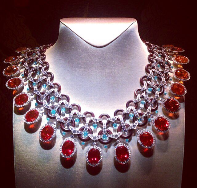 "Van Cleef & Arpels fire Opal and Diamond necklace from the high Jewellery collection ""Peau d'Âne"""
