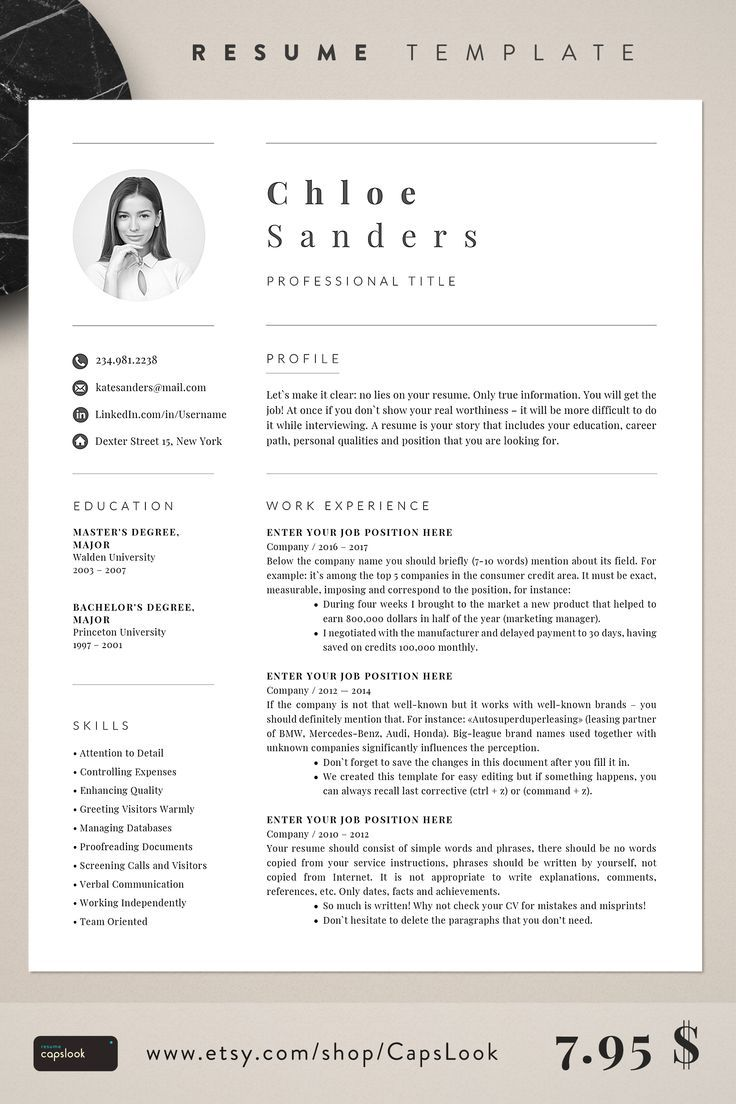 Resume Template Etsy 2019 With Images Resume Template Etsy Resume Template Professional Resume Template