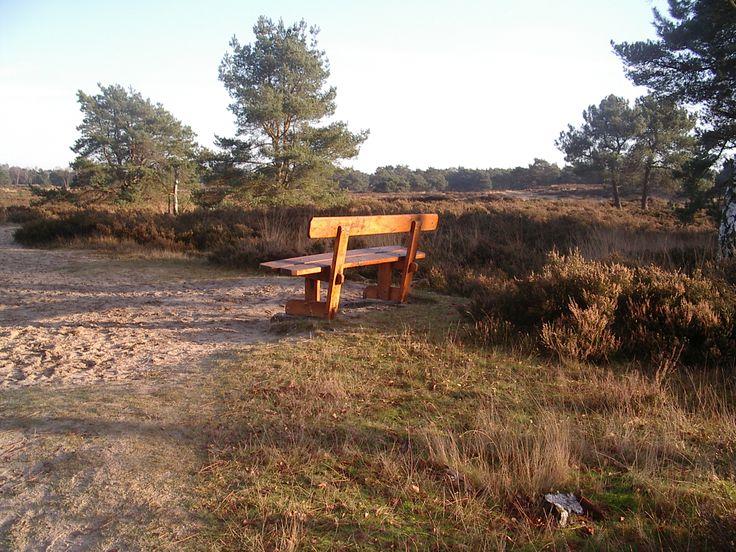 Vanaf een van de banken in het grenspark / Kalmthoutse Heide van het uitzicht genieten en even een pauze nemen