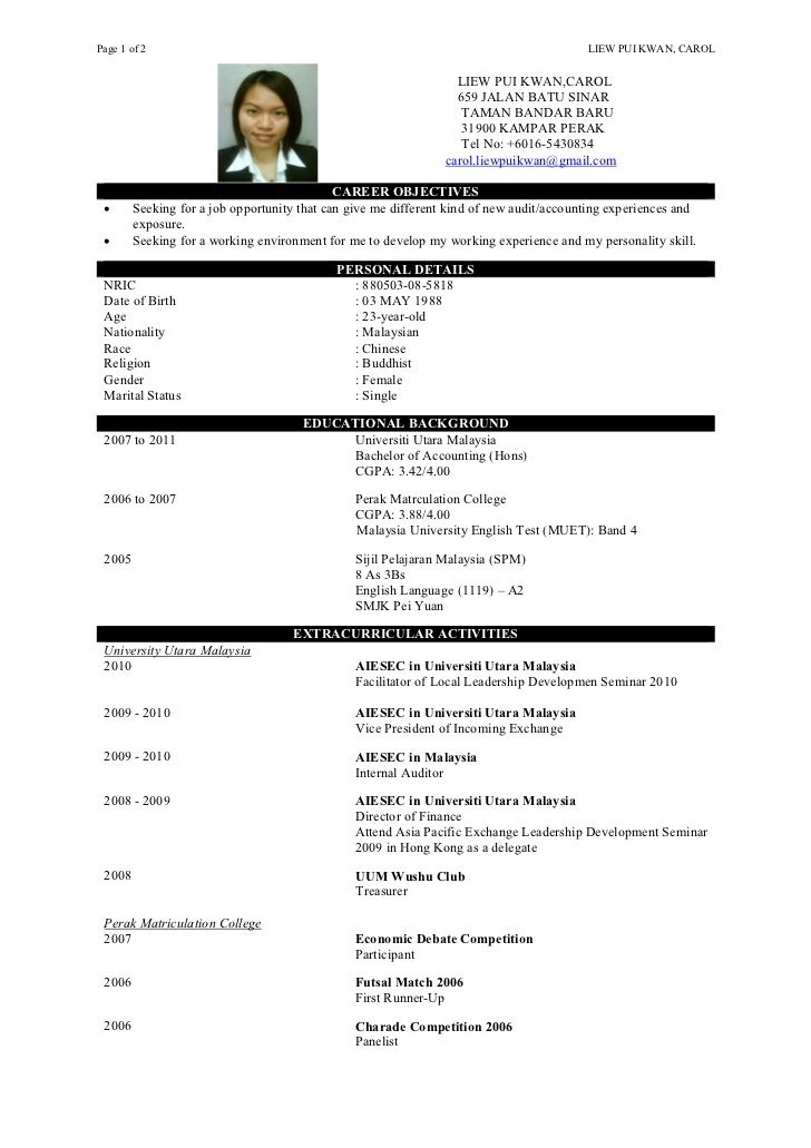 resume template malaysia doc