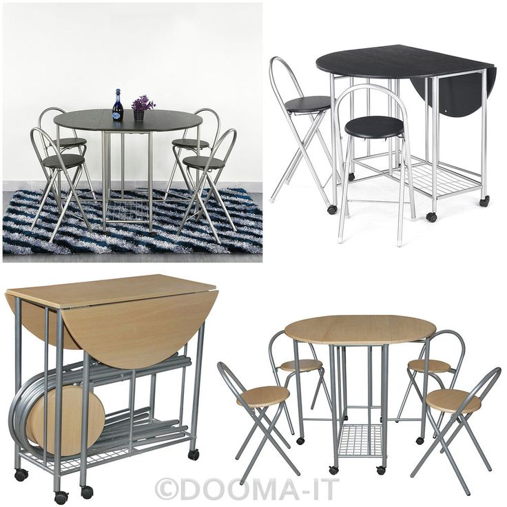 Extending Space Saving Dining Table With 4 Chairs Kitchen Drop Folding Leaf Set #Pluscom #Modern