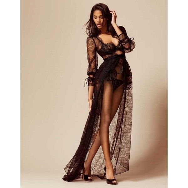 Deziree Gown In Black | By Agent Provocateur ($2,975) ❤ liked on Polyvore featuring intimates, agent provocateur lingerie, agent provocateur, bride lingerie and bridal lingerie
