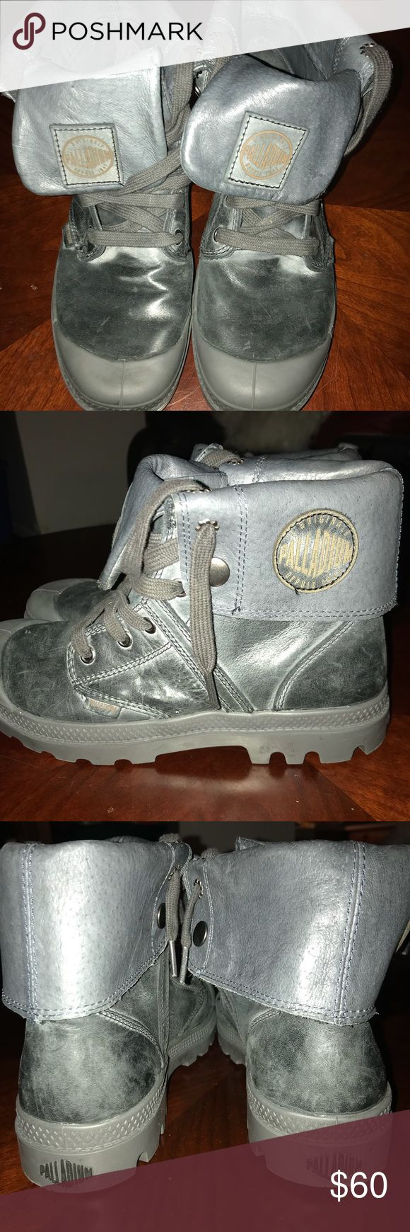 Palladium Women boots😍 Distressed gray winter boots... warm... gently used for one winter ...lightweight...great condition 😍 Palladium Shoes Winter & Rain Boots