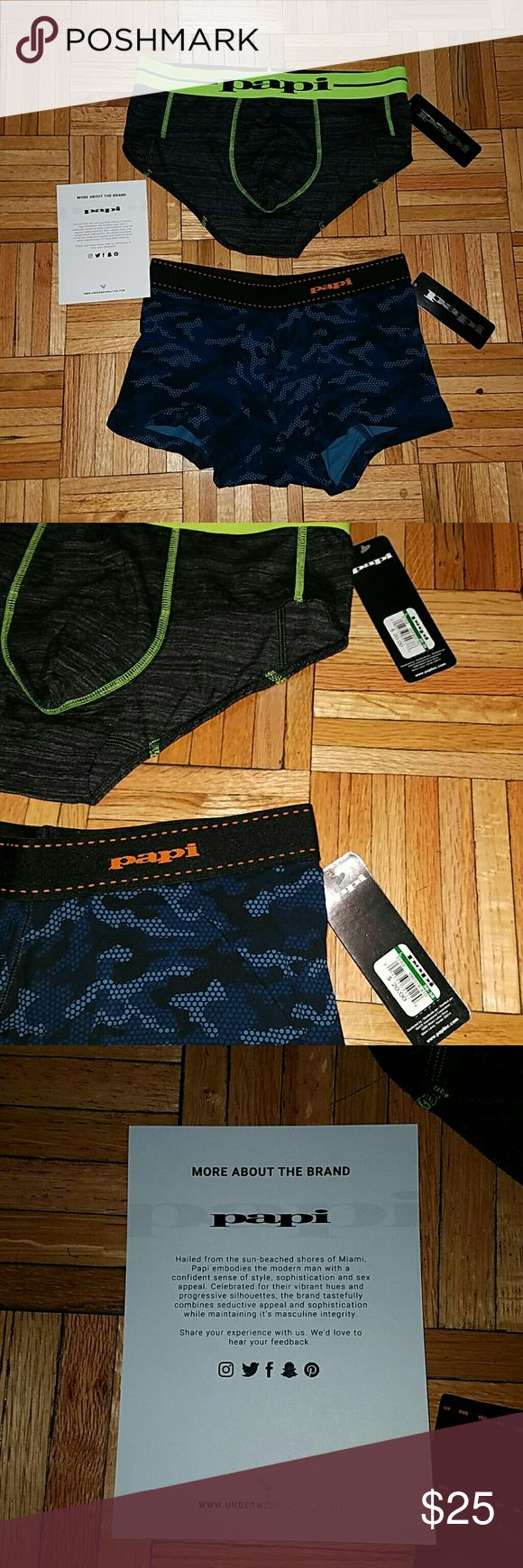 Nwt! Set of Men's Boxer and Brief Nwt! Set of Men's Papi Boxer and Brief  -from subscription box: Underwear Nation -1 Papi Boxer -1 Papi Brief -size large Papi Underwear & Socks