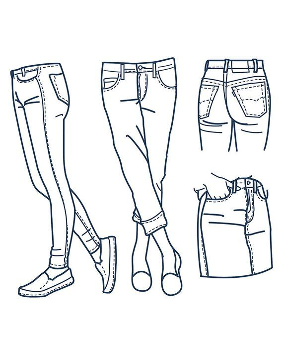 Hand Drawn Fashion Collection Of Girl S Jeans Outline Clipart Commercial Use Vector Graphics Digital Clip Art Digital Images Eps Jpg Fashion Drawing Fashion Design Sketches Drawing Clothes