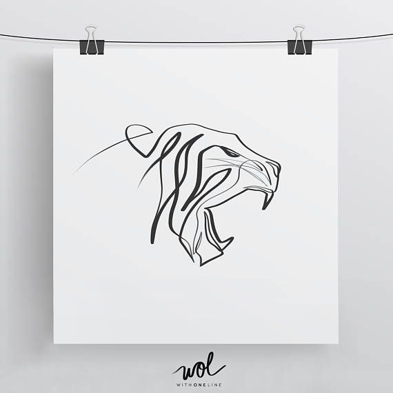 Tiger Print Minimal Art With One Line Calligraphy