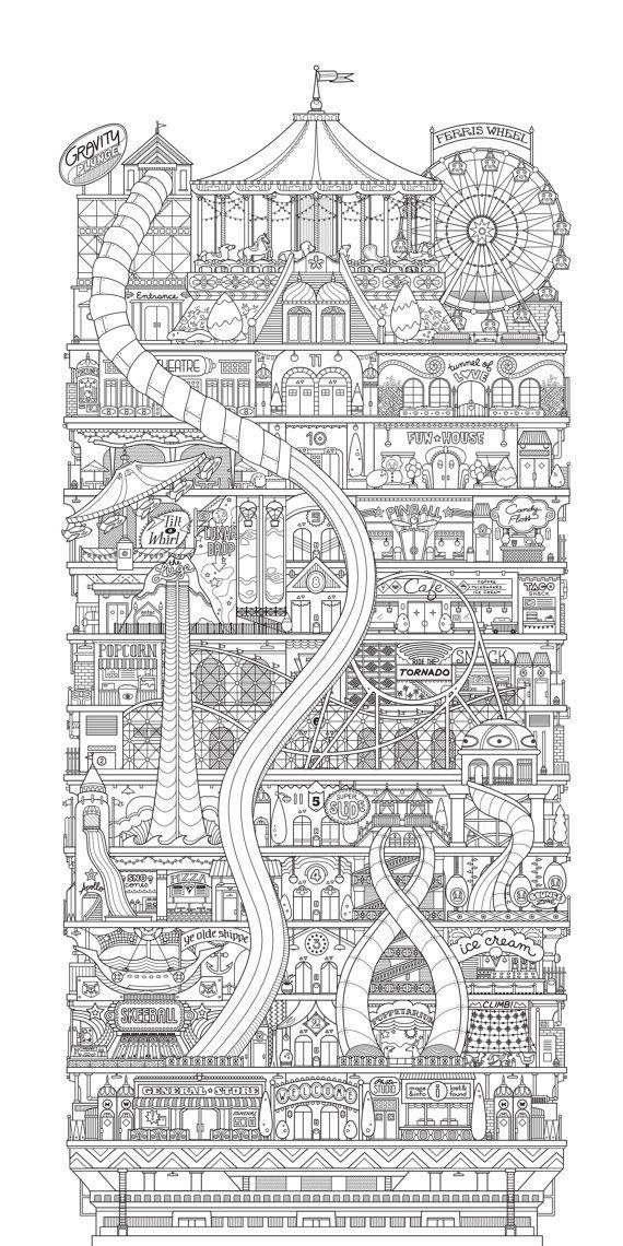 Original letterpress print - Vertical Carnival (1st edition). $38.00, via Etsy.