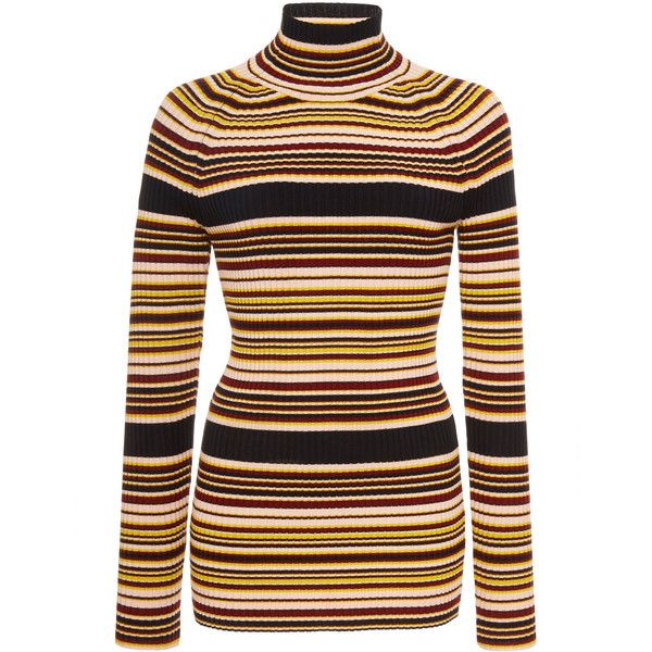 Euston Striped Turtleneck  | Moda Operandi ($350) ❤ liked on Polyvore featuring tops, sweaters, long sleeve tops, striped sweater, striped turtleneck sweater, high neck sweater and striped turtleneck