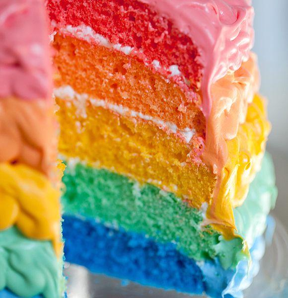 2012-02-23-(RUP)-rainbow-cake10-580wKids Birthday, Rainbows Colors, Food, Rainbow Cakes, 5Th Birthday, Rainbows Cake, Cake Boss, Cake Tutorials, Birthday Cake