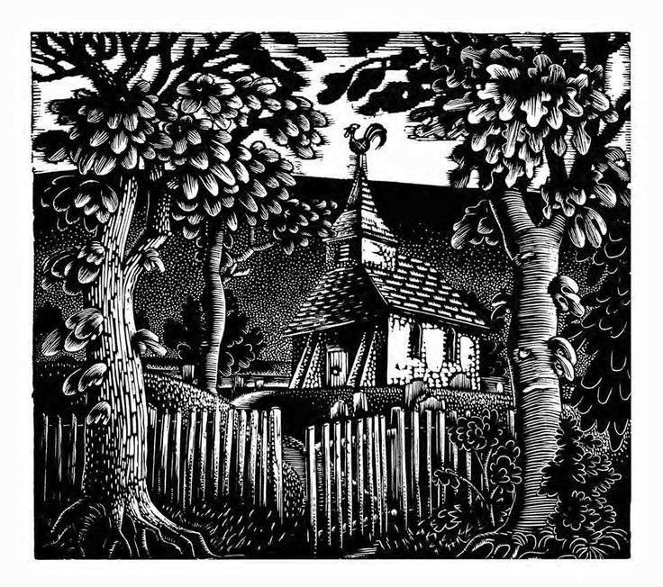 """Sussex Church"" by Eric Ravilious (wood engraving)"