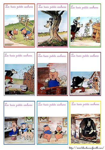 cartes mémory - trois petits cochons