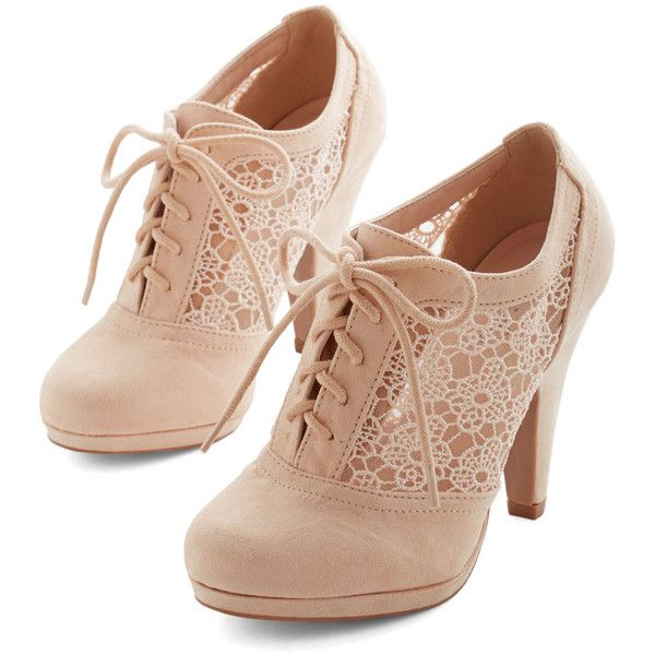 ModCloth Menswear Inspired Numerous Occasions Heel ($45) ❤ liked on Polyvore featuring shoes, pumps, heels, boots, lace up shoes, platform heels pumps, cream shoes, platform shoes and platform oxford shoes