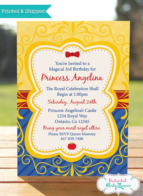 Hey, I found this really awesome Etsy listing at https://www.etsy.com/listing/163163685/princess-snow-white-birthday-invitation