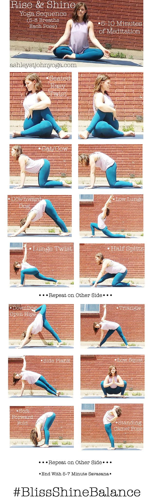 Rise & Shine AM Yoga Sequence http://yogisurprise.com/pinterest                                                                                                                                                                                 More