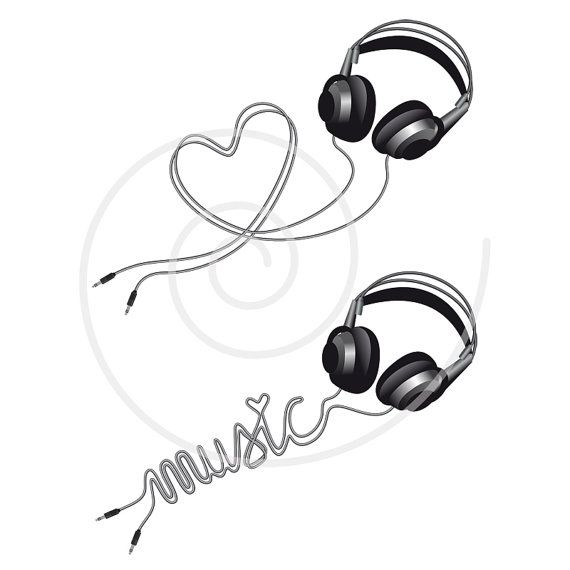 Music love, headphone with heart, digital clip art ...