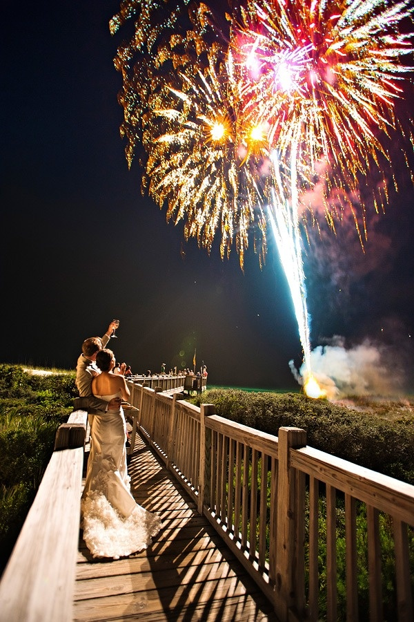 Seaside Beach Wedding Film from Diva Productions | Paul Johnson Photography Style Me Pretty Love the FIREWORKS!