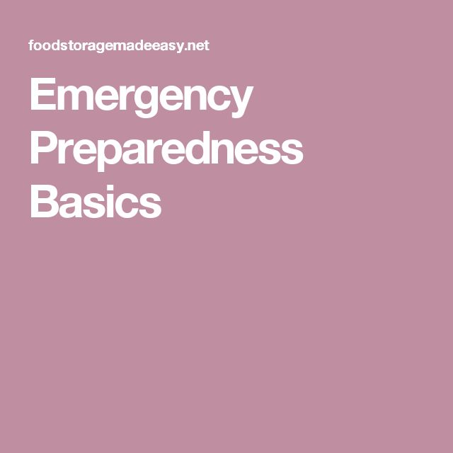 Emergency Preparedness Basics