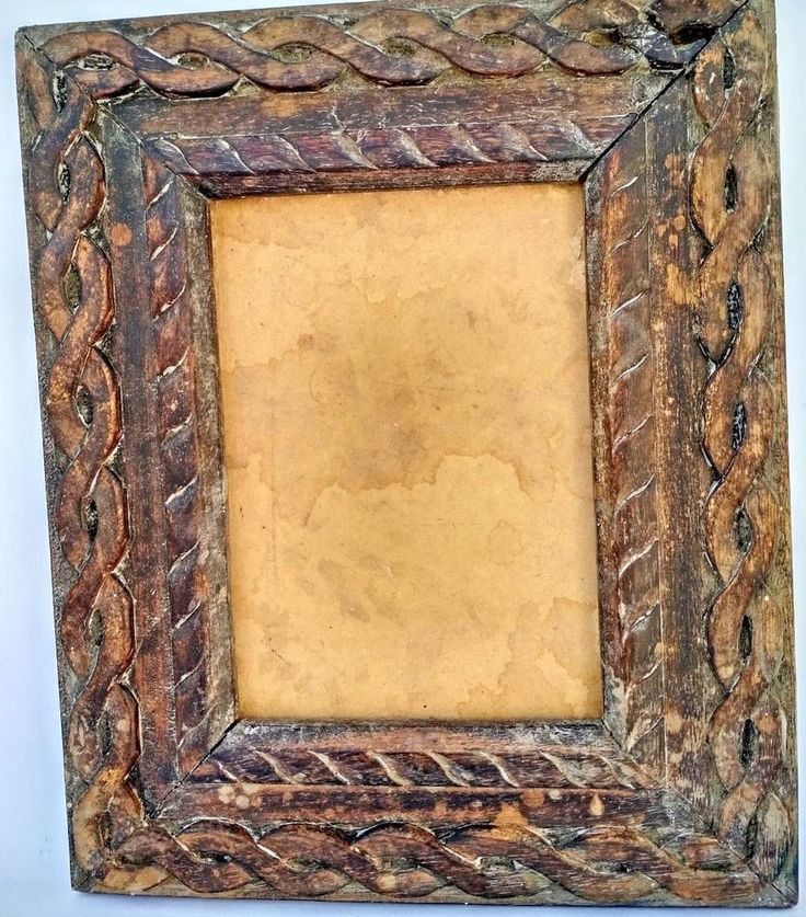 VINTAGE WOODEN OLD HANDMADE HAND CARVED PICTURE PHOTO FRAME COLLECTIBLE #RusticPrimitive #Handmade