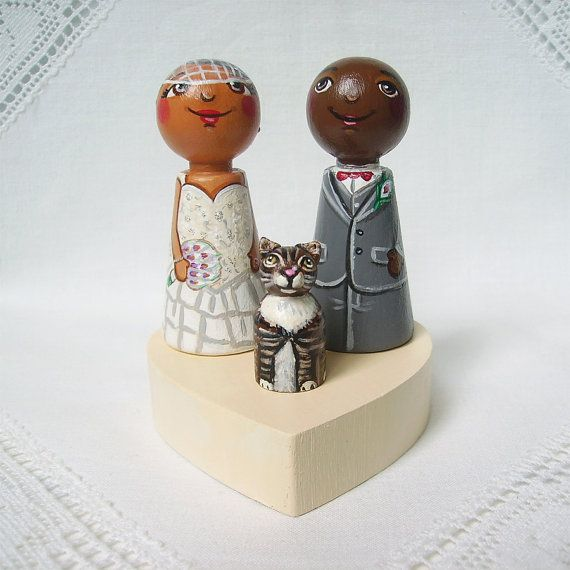 Personalized custom wedding party cake topper bride groom peg dolls afro african american Asian cat animal lover keepsake heirloom bow tie