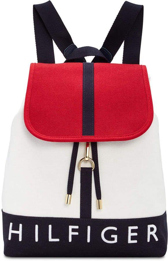 cf0e8e49cf Tommy Hilfiger Sporty Signature Canvas Flap Backpack #purses #shopping  #fashion #style #deals