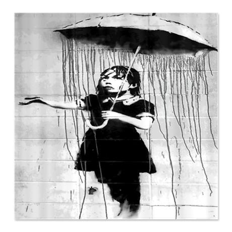 Banksy Graffiti Umbrella Girl Shower Curtain