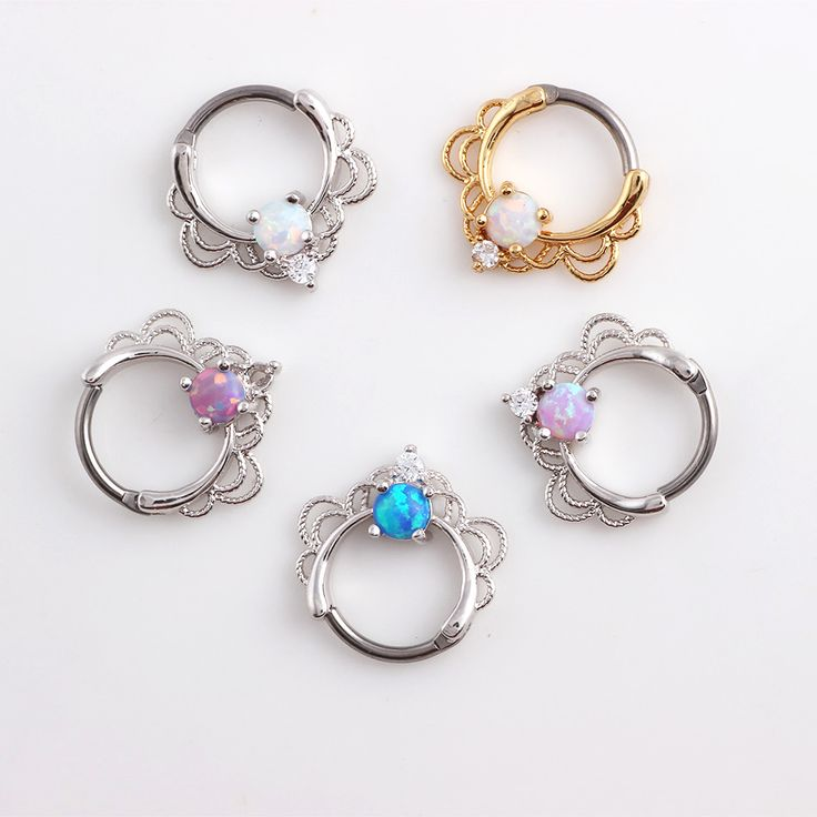 1pc Lacey Single Opal Stone Hinged Septum Clickers Titanium Shaft 16G Pierced Round Nose Rings Piercing Daith Rook Body Jewelry