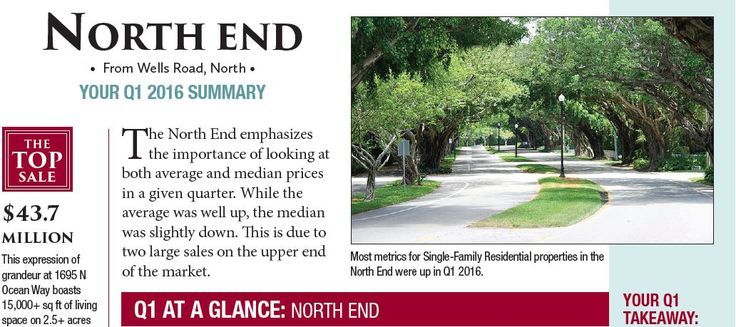 NORTH END : The total number of sales went down by one in a quarter-over-quarter comparison, and this turned all the trend arrows red. But one quarter does not tell the full tale of stability seen in this portion of the Palm Beach market.  #PalmBeachRealEstate#KevinMLeonard#LuxuryAgent#PalmBeach#LuxuryPortfolio