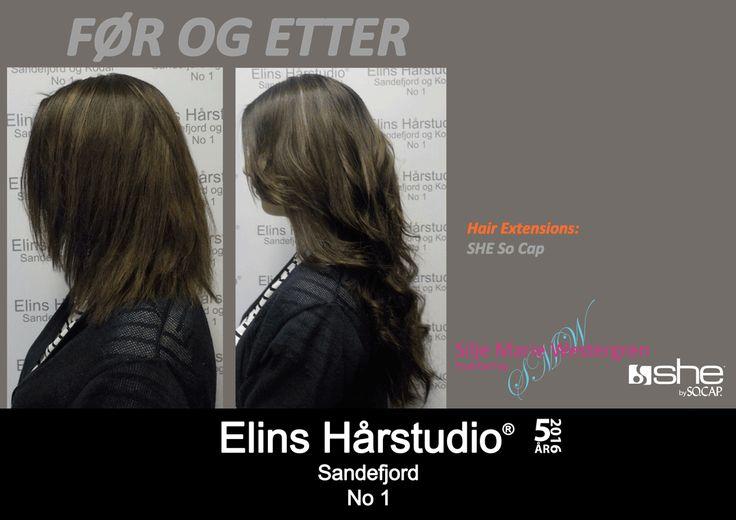 Brunette hårforlengelse hair extensions langt hår