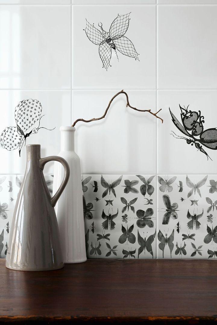 piastrelle ceramiche linea Papillon, designer Ruben Toledo.