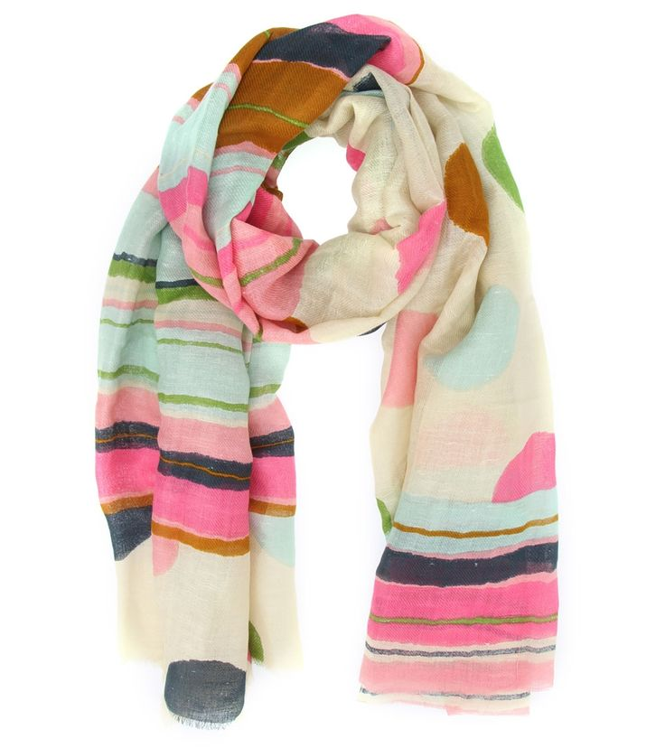 Multicoloured Linen Digitally Printed Scarf #wraps #colourful #scarves #printed