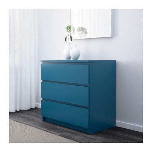 MALM Commode à 3 tiroirs - turquoise - IKEA