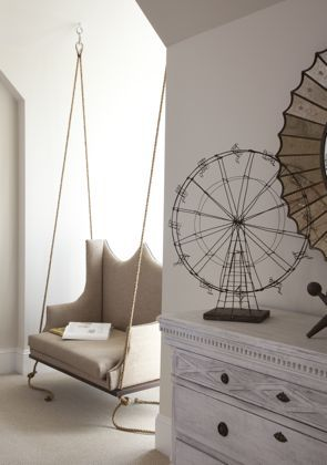 indoor swing chair in a hard to decorate space