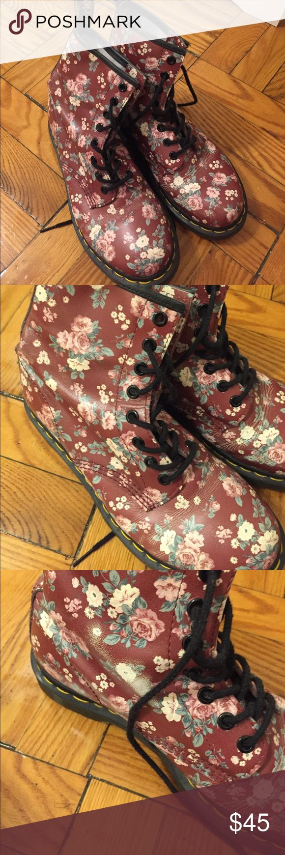 Doc Marten Floral Boots Maroon Doc Martens with floral print. Gently worn. Signs of wear (see pics) but still great condition. Doc Martens Shoes Combat & Moto Boots