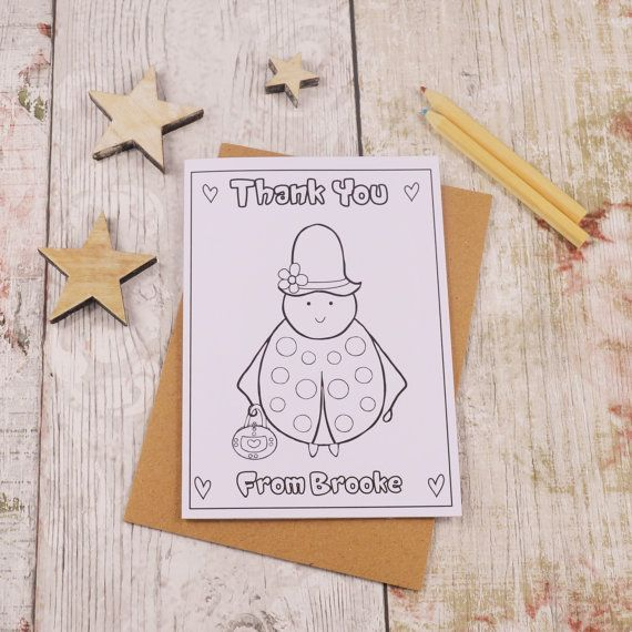 Lady Bird Colouring in Thank You Card Children's by MakeWithMum