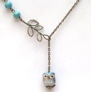 Antiqued Brass Leaf Turquoise Porcelain Owl Necklace by gemandmetal ($1-20) - Svpply