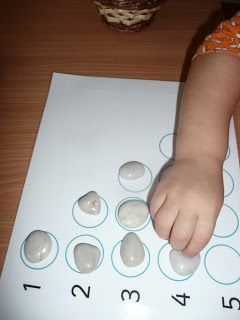 Quantifying with stones - this is a really simple idea for counting. Make sure you have the exact number of stones, that way you have a control of error (this child will be able to do the activity themselves and know if they have made a mistake).