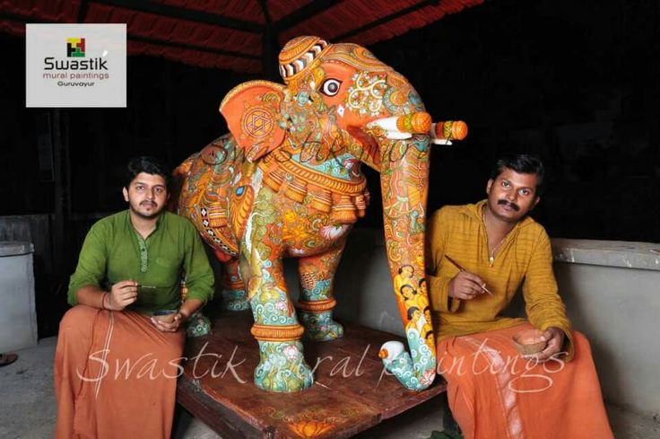 Mural painting  on wooden sculpture... #keralamuralpaintings #muralart #swastikmuralpaintingsguruvayur #painting #sculpturepaintings #elephant