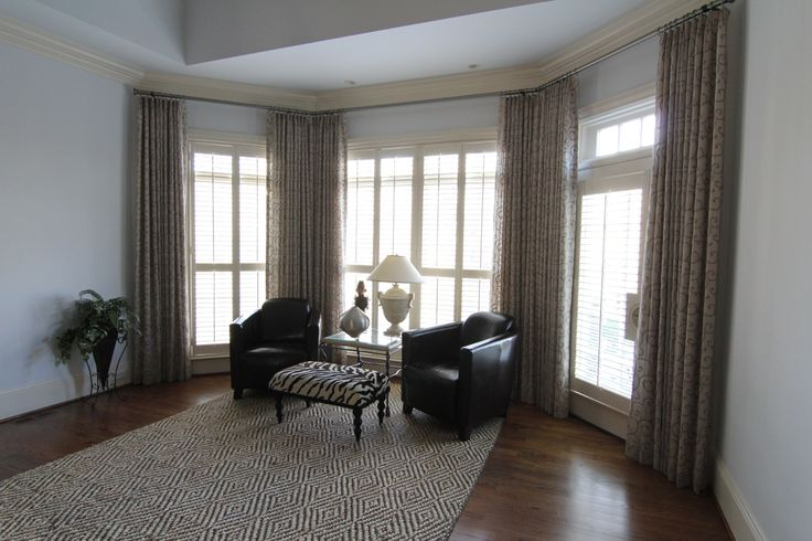 Functional Drapes in the reading area of the Master Bedroom.