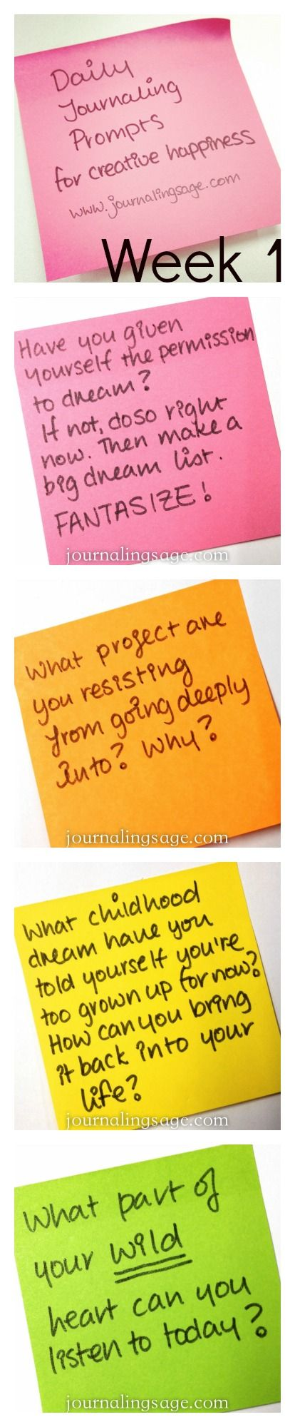 Daily Journaling Prompts for Creative Happiness - Week 1 prompts. http://journalingsage.com