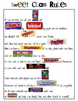 Silly, but Cute!! :: Sweet Class Rules with a CANDY Theme!